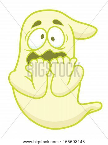 Scared Ghost Cartoon Character Isolated on White