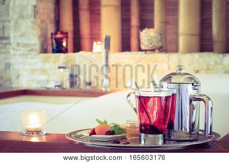 Rosehip Tea Near Jacuzzi. Valentines Background. Romance Concept. Health Concept