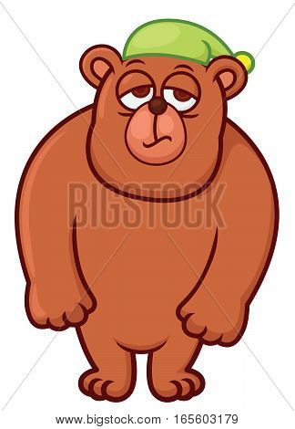 Sleepy Bear Cartoon Character Isolated on White