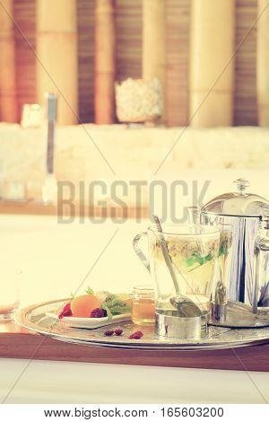 Chamomile Tea With Teapot Near Jacuzzi. Valentines Background. Romance Concept. Health Concept