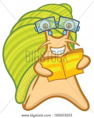 Snail Geek with Glasses Cartoon Character Isolated on White
