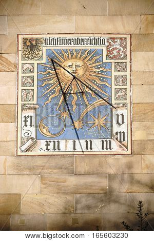 FRANKFURT, GERMANY - JANUARY 05: A historical sundial with various drawings of coat of arms zodiacal signs and heavenly bodies on January 05, 2017 in Frankfurt.