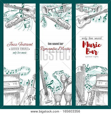 Musical festival, music bar banners set. Vector sketch musical instruments jazz saxophone, acoustic guitar and piano with violin bow, maracas and ethnic drums, harp and trumpet with music notes stave for live sound play