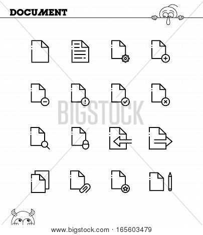 Document flat icon set. Collection of high quality outline symbols for web design, mobile app. Paper vector thin line icons or logo.