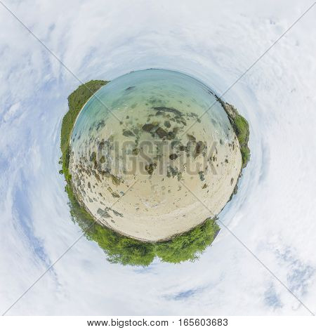 Little Planet. The Shore Of A Deserted Island.