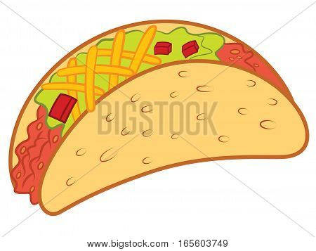 Crispy Taco Vector Illustration Isolated on White