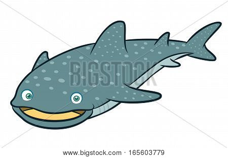 Whale Shark Cartoon Animal Character Isolated on White Background