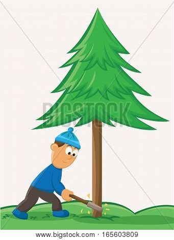 Young Man Cutting Pine Tree Cartoon Illustration