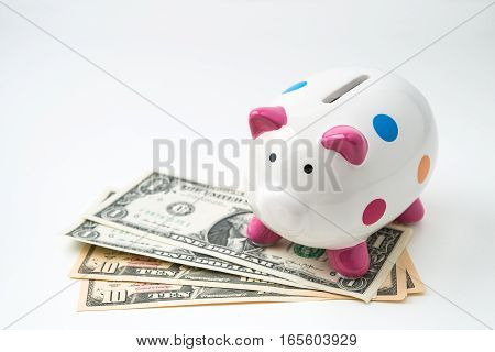 piggy bank with money on a white background