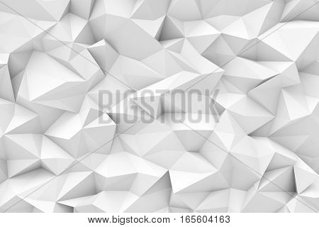 3d rendering of white polygonal triangular geometric abstract background. Geometric background. Computer graphics.