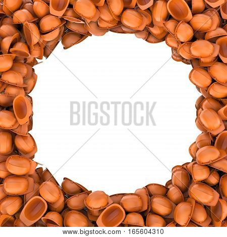 3d rendering round frame made of heap of orange builder helmets on white background. Building industry. Safety clothing. Working uniform.