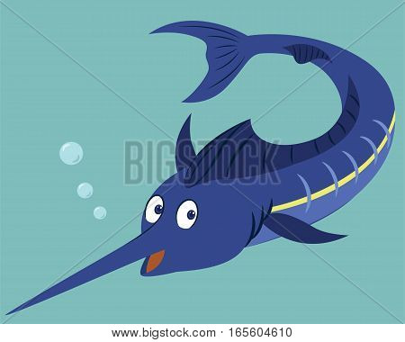 Blue Marlin Fish Swimming Under Water Cartoon Animal Character. Vector Illustration.