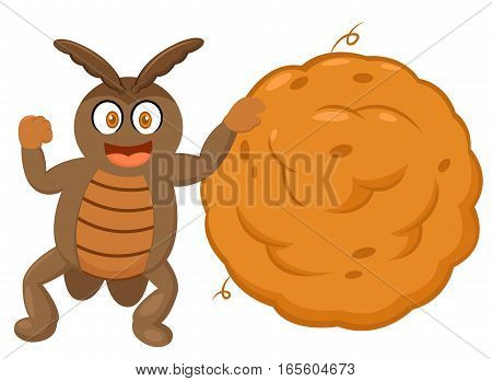 Dung Beetle with Big Ball of Dung Cartoon Character