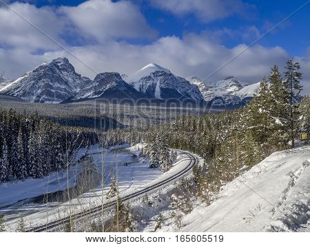 Scenic Morant's Curve in winter Banff National Park Alberta Canada