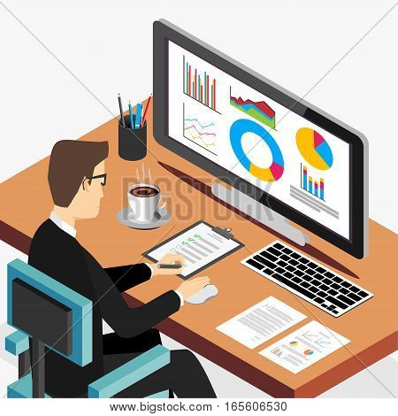 Business person working on computer. Business analyst business growth concept. Modern isometric illustration for Web Banner Website Element Brochures or Book cover