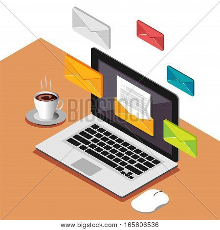 Email or business messages. Communication concept. Modern isometric illustration for Web Banner Website Element Brochures or Book cover