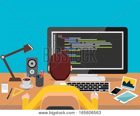 Person working on computer. Programming or coding concept. Modern flat design for Web Banner , Website Element , Brochures or Book cover