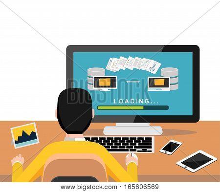 Copying files or files transfer process on desktop. Modern flat design for Web Banner , Website Element , Brochures or Book cover