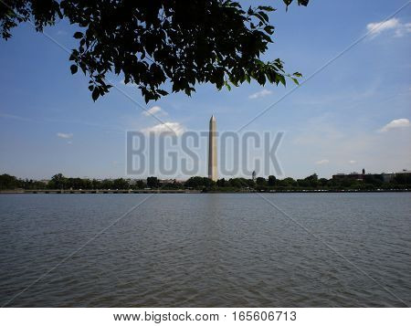 Washington monument as seen from across the tidal basin