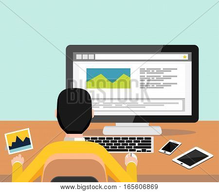 Person blogging on computer. Template blogging infographics. Modern flat design for Web Banner , Website Element , Brochures or Book cover