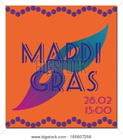 Mardi Gras celebration vector poster, placard or invitation.