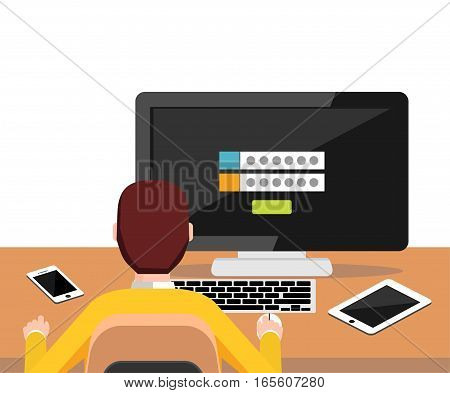 Person trying to log in system to access desktop. Authentication login form. Modern flat design for Web Banner Website Element Brochures or Book cover