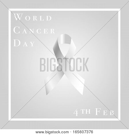 Vector illustration of world cancer day with ribbon. February 4.