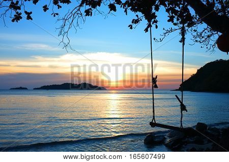 End of the year , Beautiful lighting landscape and cloud before sunset , Long beach,  Koh Chang island, Trat province, Thailand