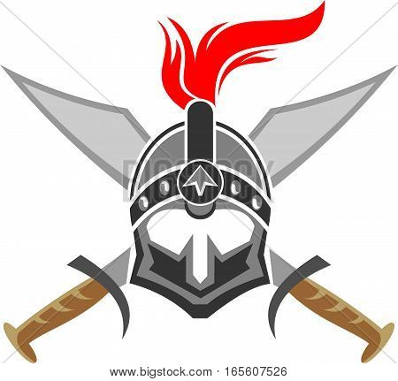 logo illustration spartan helmet with two sword