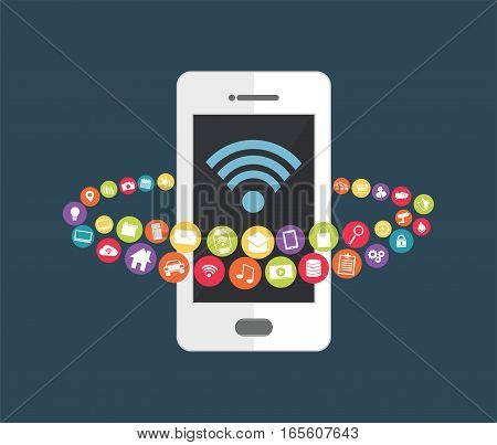 Mobile phone technology to control devices. Smart home concept.