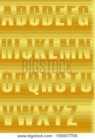 Striped Yellow Alphabet. Unusual font. Vintage style. Illustration.