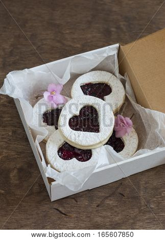 Box of homemade cookies-hearts with jam. Valentine's Day gift