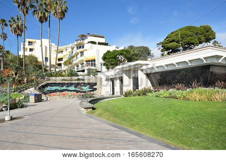 LAGUNA BEACH CALIFORNIA - JANUARY 6 2017: Lifeguard Headquarters with the Inn at Laguna Beach on the hillside above.