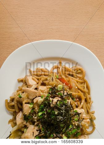 Delicious Japanese cuisine Yakisoba or hot dry noodles Japanese style.