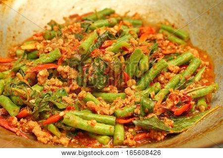 Cooking , Spicy Fried Cowpea With Minced Pork , Pad Ped Tua .