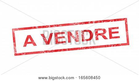 To Sell In French Translation In Red Rectangular Stamp