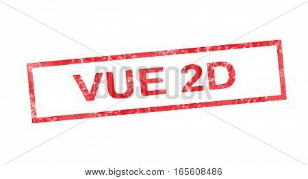 2D View In French Translation In Red Rectangular Stamp