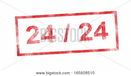 24/24 writing in a red rectangular stamp