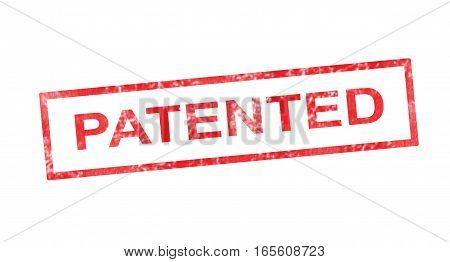 Patented writing in a red rectangular stamp