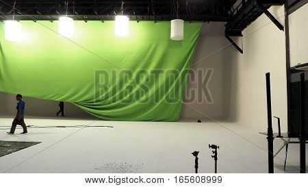 Big Studio With Green Screen.