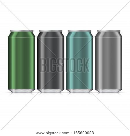Aluminum Beverage Drink Can. Illustration Isolated. Mock Up Template Ready For Your Design. Vector EPS10