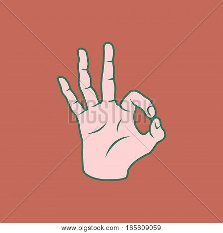 Retro Screen Print Hand Giving The OK Sign Vector Illustration