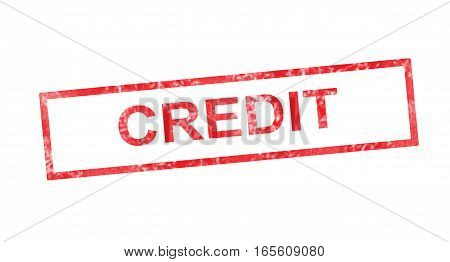 Credit writing in a red rectangular stamp