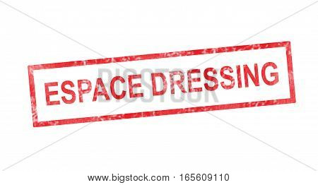 Dressing Room In French Translation In Red Rectangular Stamp
