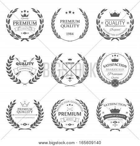 Set of premium quality labels and badges vector illustration