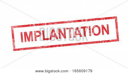 Implanting In French Translation In Red Rectangular Stamp