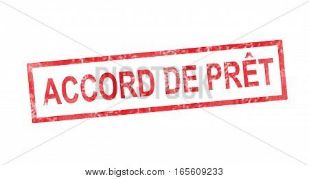 Loan Agreement In French Translation In Red Rectangular Stamp