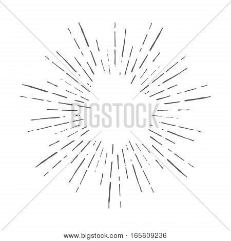 Vintage hand drawn sunburst vector illustration design element
