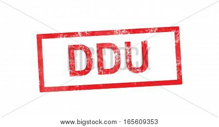 DDU acronym in a red rectangular stamp