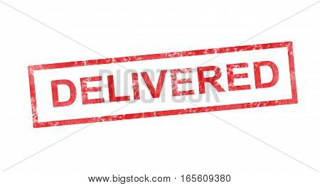 Delivered writing in a red rectangular stamp